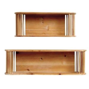 Oval Wood and Rattan Wall Shelves.